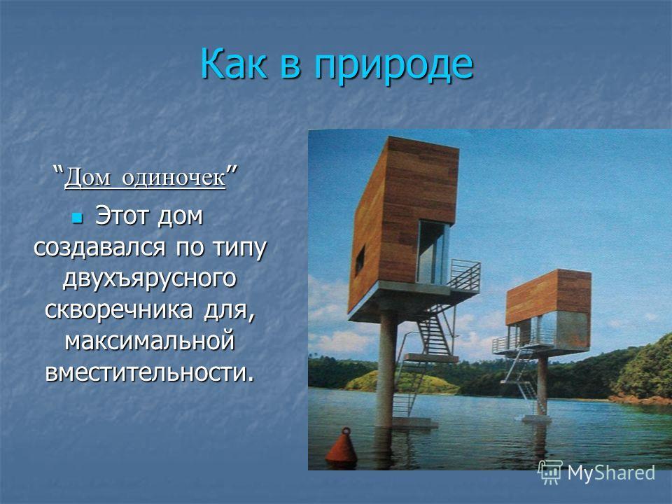 Как в природе Дом одиночек Дом одиночек Этот дом создавался по типу двухъярусного скворечника для, максимальной вместительности. Этот дом создавался по типу двухъярусного скворечника для, максимальной вместительности.