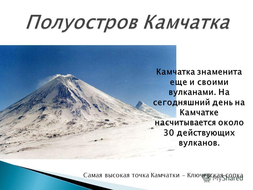Камчатка знаменита еще и своими вулканами. На сегодняшний день на Камчатке насчитывается около 30 действующих вулканов. Самая высокая точка Камчатки – Ключевская сопка