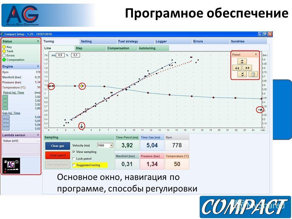 Програмное обеспечение Основное окно, навигация по программе, способы регулировки