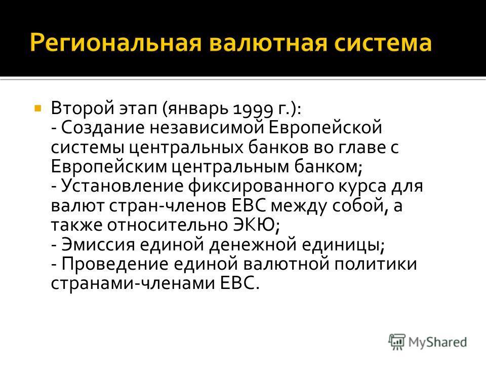 Второй этап (январь 1999 г.): - Создание независимой Европейской системы центральных банков во главе с Европейским центральным банком; - Установление фиксированного курса для валют стран-членов ЕВС между собой, а также относительно ЭКЮ; - Эмиссия еди