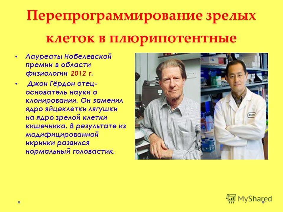 Перепрограммирование зрелых клеток в плюрипотентные Лауреаты Нобелевской премии в области физиологии 2012 г. Джон Гёрдон отец- основатель науки о клонировании. Он заменил ядро яйцеклетки лягушки на ядро зрелой клетки кишечника. В результате из модифи