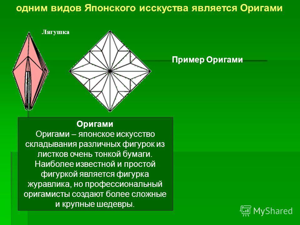 Лягушка Оригами Оригами – японское искусство складывания различных фигурок из листков очень тонкой бумаги. Наиболее известной и простой фигуркой является фигурка журавлика, но профессиональный оригамисты создают более сложные и крупные шедевры. Приме
