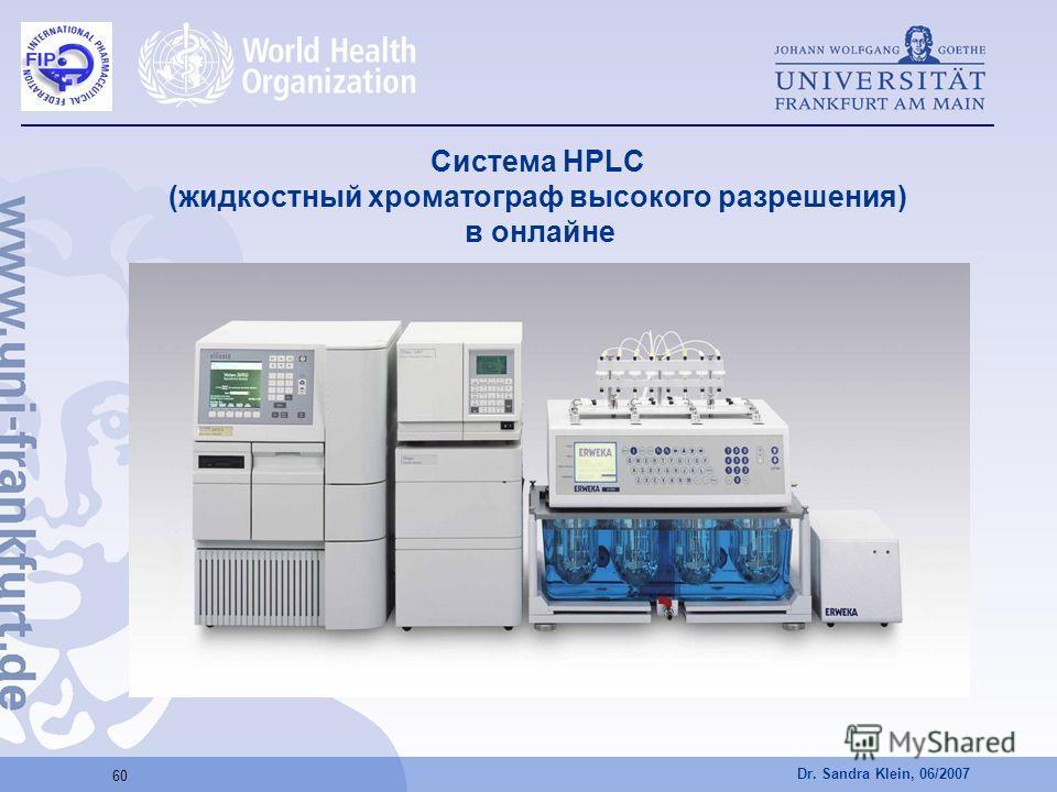 Dr. Sandra Klein, 06/2007 60 Система HPLC (жидкостный хроматограф высокого разрешения) в онлайне