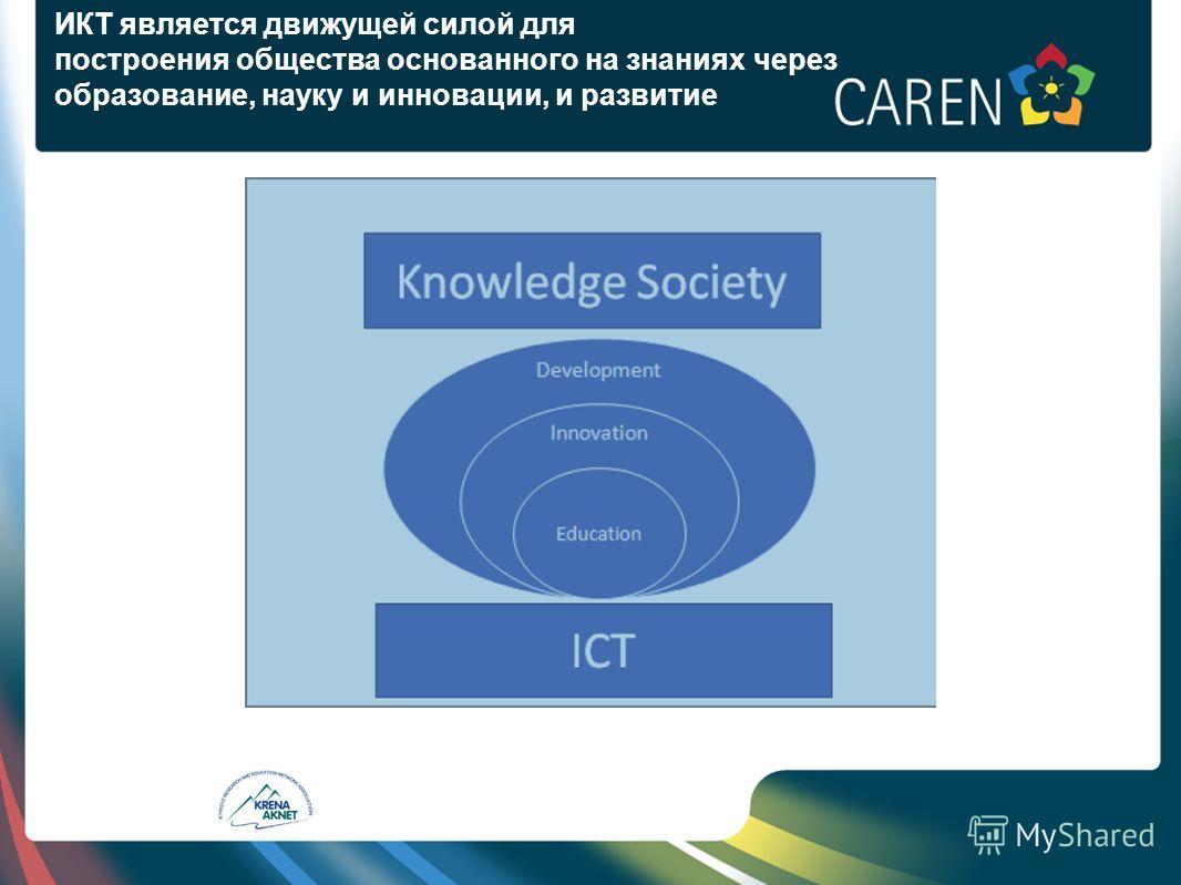 ИКТ является движущей силой для построения общества основанного на знаниях через образование, науку и инновации, и развитие