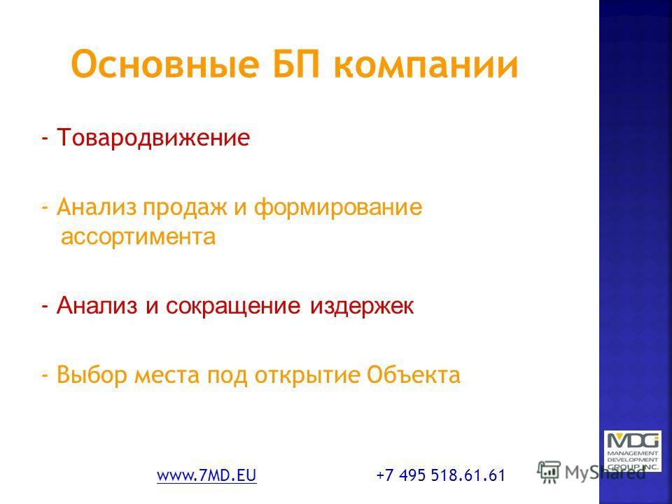 - Товародвижение - Анализ продаж и формирование ассортимента - Анализ и сокращение издержек - Выбор места под открытие Объекта www.7MD.EUwww.7MD.EU +7 495 518.61.61