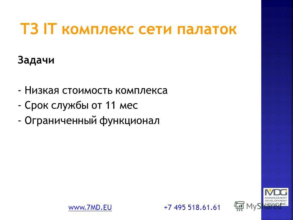 Задачи - Низкая стоимость комплекса - Срок службы от 11 мес - Ограниченный функционал www.7MD.EUwww.7MD.EU +7 495 518.61.61
