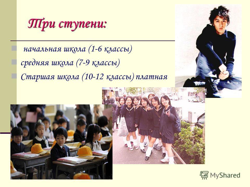 Три ступени: н ачальная школа (1-6 классы) средняя школа (7-9 классы) Старшая школа (10-12 классы) платная