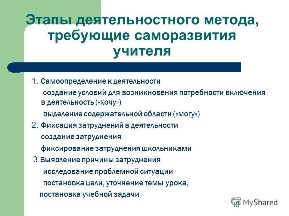 Этапы деятельностного метода, требующие саморазвития учителя 1. Самоопределение к деятельности создание условий для возникновения потребности включения в деятельность («хочу») выделение содержательной области («могу») 2. Фиксация затруднений в деятел