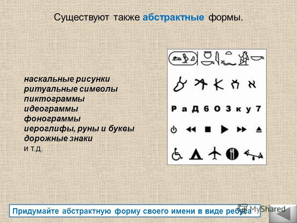наскальные рисунки ритуальные символы пиктограммы идеограммы фонограммы иероглифы, руны и буквы дорожные знаки и т.д. Придумайте абстрактную форму своего имени в виде ребуса Существуют также абстрактные формы.