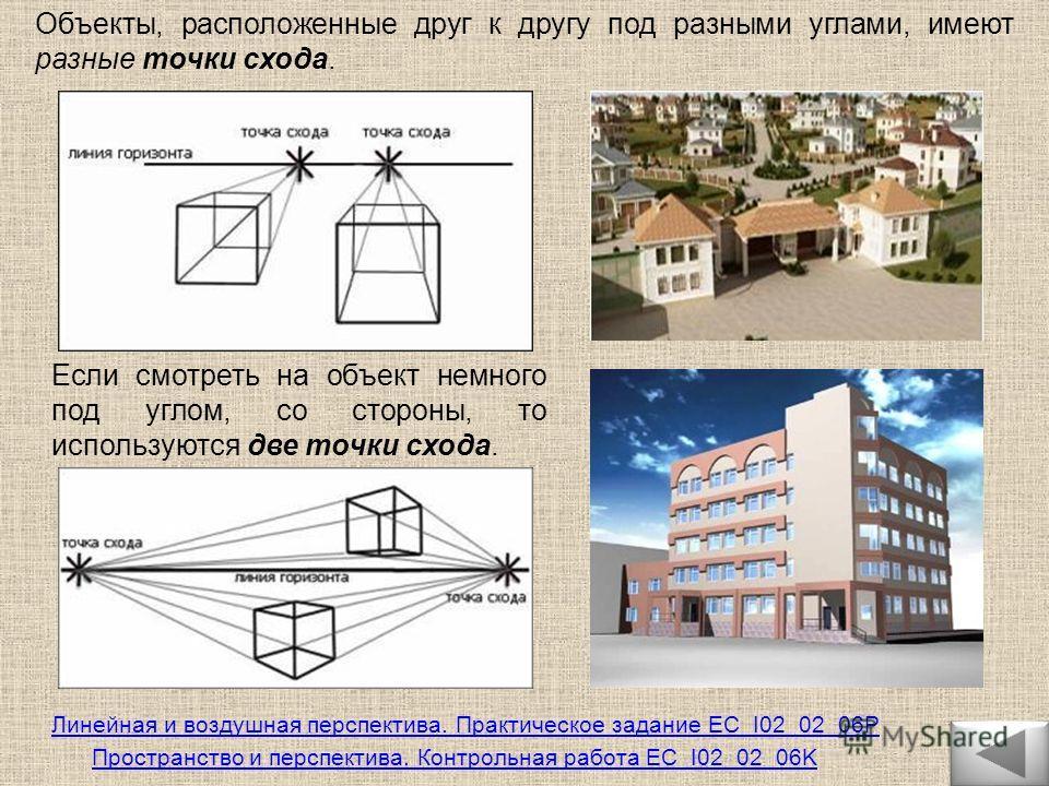 Объекты, расположенные друг к другу под разными углами, имеют разные точки схода. Если смотреть на объект немного под углом, со стороны, то используются две точки схода. Линейная и воздушная перспектива. Практическое задание EC_I02_02_06P Пространств