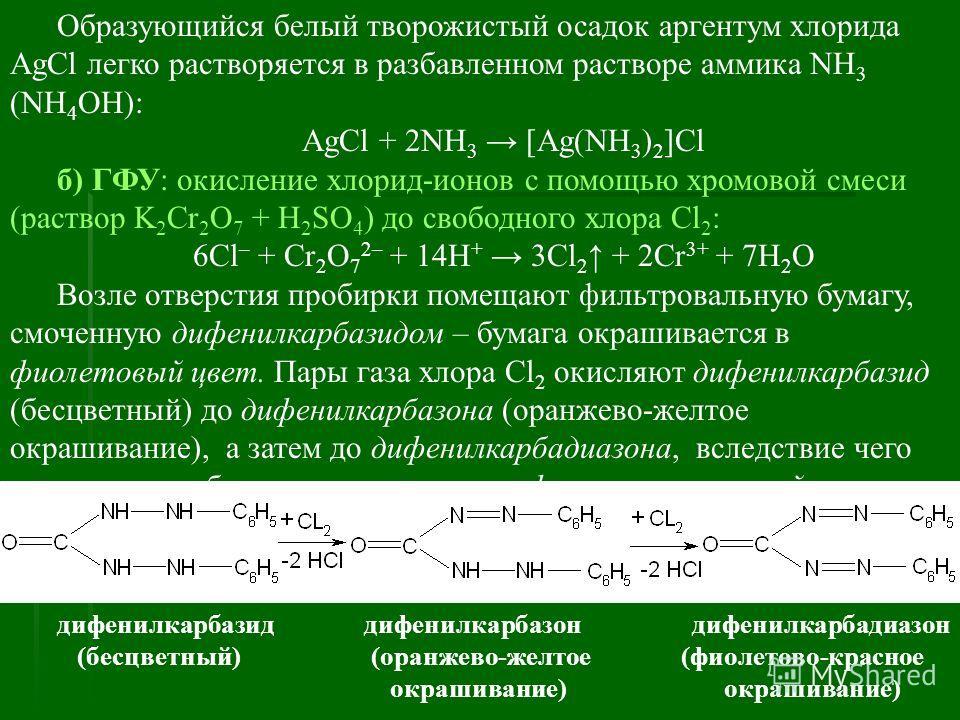 Образующийся белый творожистый осадок аргентум хлорида AgCl легко растворяется в разбавленном растворе аммика NH 3 (NH 4 ОН): AgCl + 2NH 3 [Ag(NH 3 ) 2 ]Cl б) ГФУ: окисление хлорид-ионов с помощью хромовой смеси (раствор K 2 Cr 2 O 7 + H 2 SO 4 ) до
