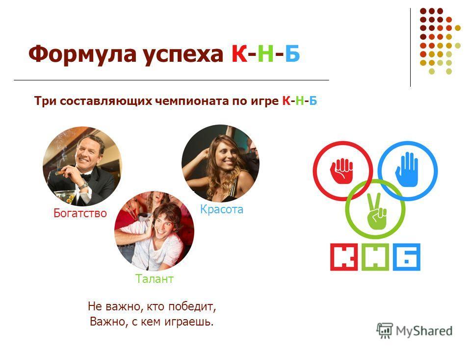 Формула успеха К-Н-Б Богатство Три составляющих чемпионата по игре К-Н-Б Талант Красота Не важно, кто победит, Важно, с кем играешь.