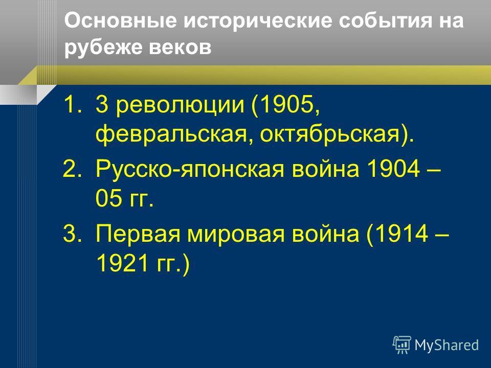 Основные исторические события на рубеже веков 1.3 революции (1905, февральская, октябрьская). 2.Русско-японская война 1904 – 05 гг. 3.Первая мировая война (1914 – 1921 гг.)