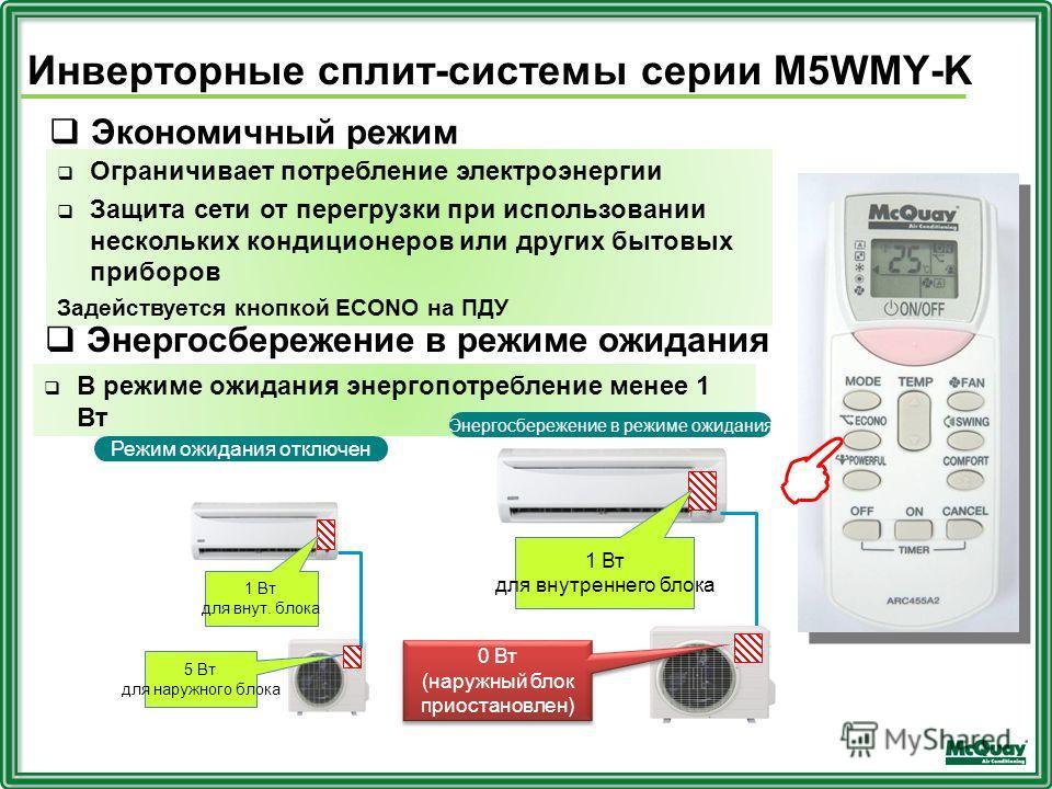 Экономичный режим Ограничивает потребление электроэнергии Защита сети от перегрузки при использовании нескольких кондиционеров или других бытовых приборов Задействуется кнопкой ECONO на ПДУ В режиме ожидания энергопотребление менее 1 Вт 1 Вт для внут