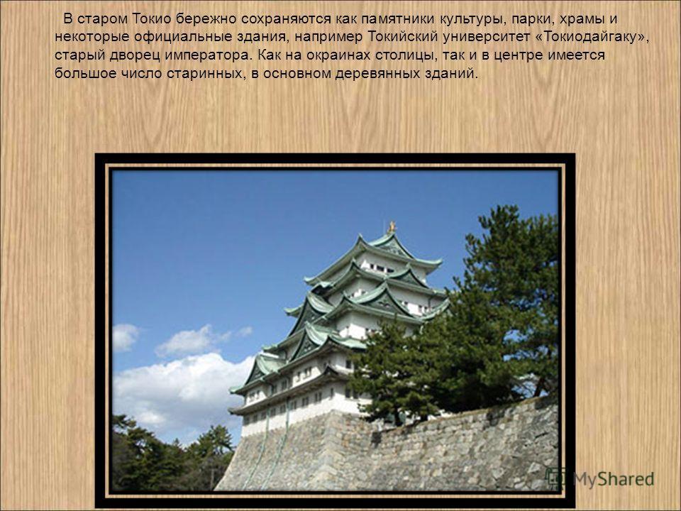 В старом Токио бережно сохраняются как памятники культуры, парки, храмы и некоторые официальные здания, например Токийский университет «Токиодайгаку», старый дворец императора. Как на окраинах столицы, так и в центре имеется большое число старинных,
