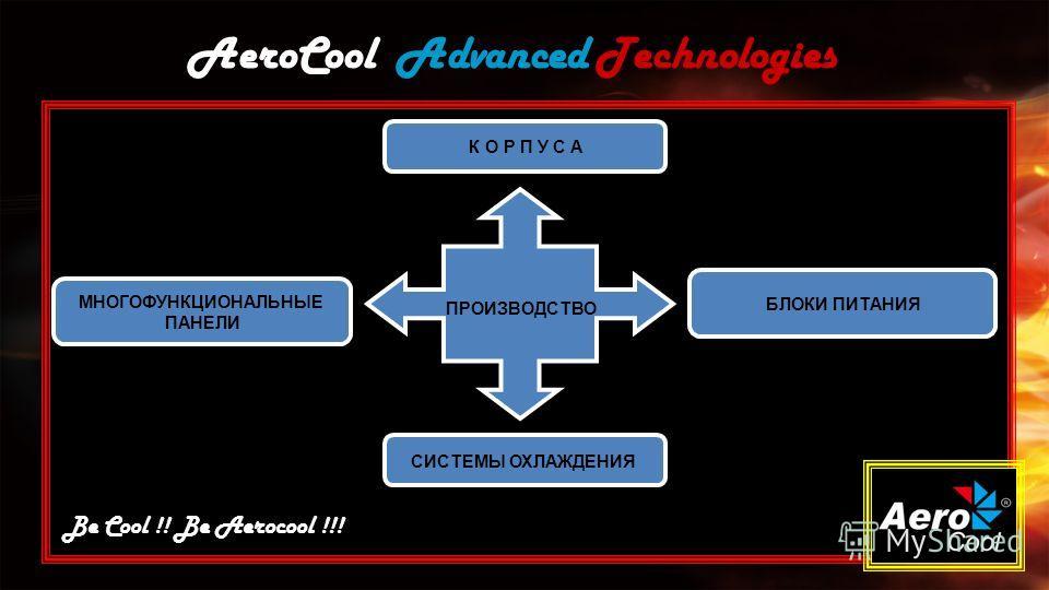 AeroCool Advanced Technologies МНОГОФУНКЦИОНАЛЬНЫЕ ПАНЕЛИ Be Cool !! Be Aerocool !!! ПРОИЗВОДСТВО БЛОКИ ПИТАНИЯ К О Р П У С А СИСТЕМЫ ОХЛАЖДЕНИЯ