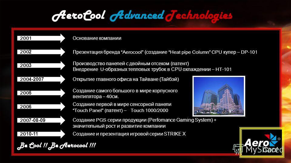 AeroCool Advanced Technologies Be Cool !! Be Aerocool !!! 2001 Основание компании 200 2 Презентация бренда Aerocool (создание Heat pipe Column CPU кулер – DP-101 Производство панелей с двойным отсеком (патент) Внедрение U- образных тепловых трубок в