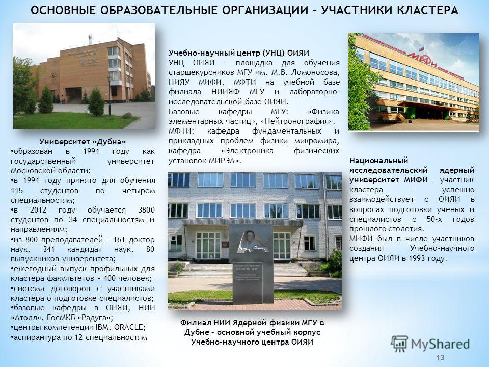 13 ОСНОВНЫЕ ОБРАЗОВАТЕЛЬНЫЕ ОРГАНИЗАЦИИ – УЧАСТНИКИ КЛАСТЕРА Университет «Дубна» образован в 1994 году как государственный университет Московской области; в 1994 году принято для обучения 115 студентов по четырем специальностям; в 2012 году обучается