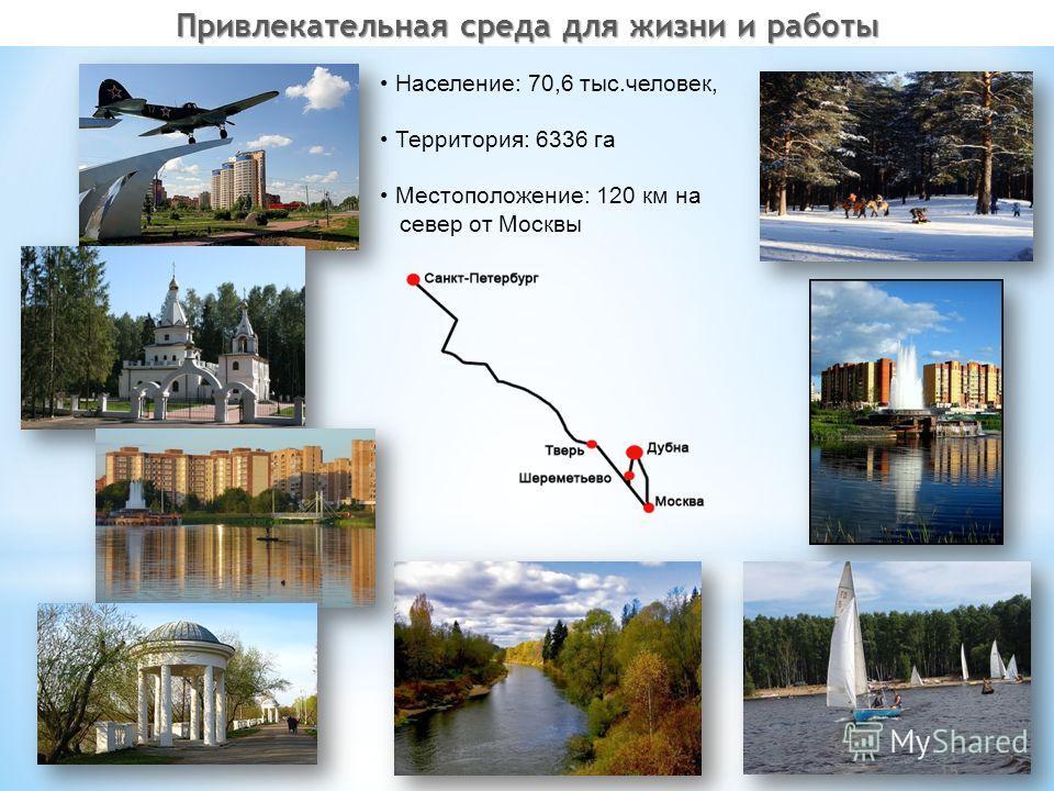 Население: 70,6 тыс.человек, Территория: 6336 га Местоположение: 120 км на север от Москвы 15 Привлекательная среда для жизни и работы