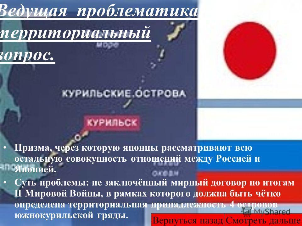 Ведущая проблематика – территориальный вопрос. Призма, через которую японцы рассматривают всю остальную совокупность отношений между Россией и Японией. Суть проблемы: не заключённый мирный договор по итогам II Мировой Войны, в рамках которого должна