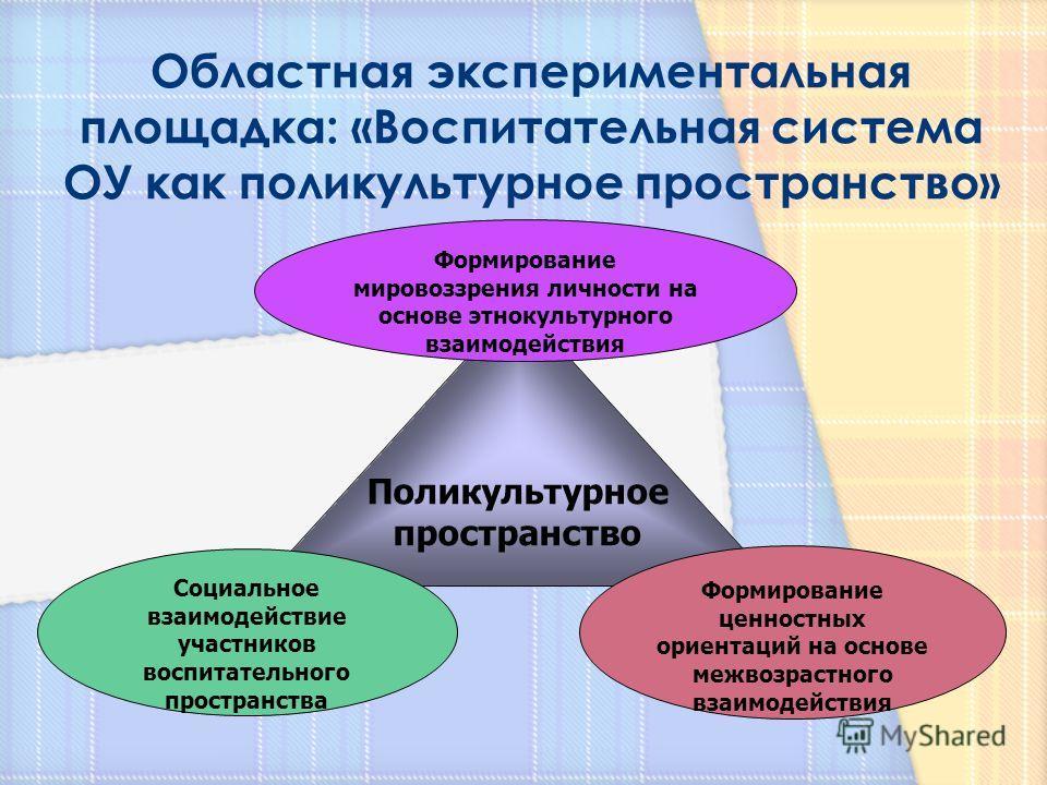 Поликультурное пространство Социальное взаимодействие участников воспитательного пространства Формирование мировоззрения личности на основе этнокультурного взаимодействия Формирование ценностных ориентаций на основе межвозрастного взаимодействия