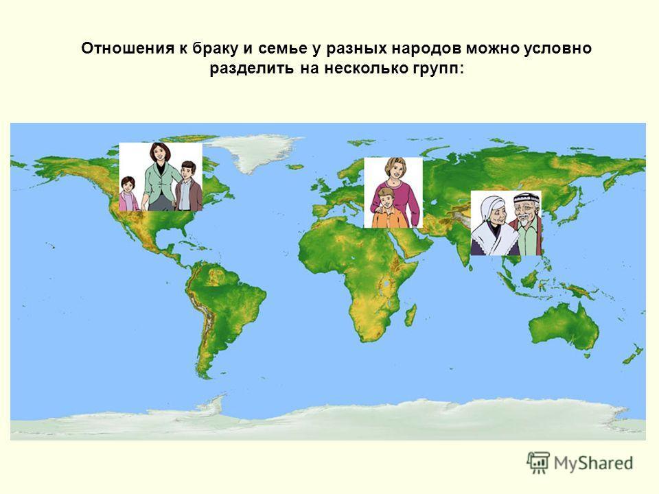 Отношения к браку и семье у разных народов можно условно разделить на несколько групп: