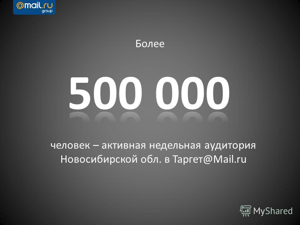 человек – активная недельная аудитория Новосибирской обл. в Таргет@Mail.ru Более