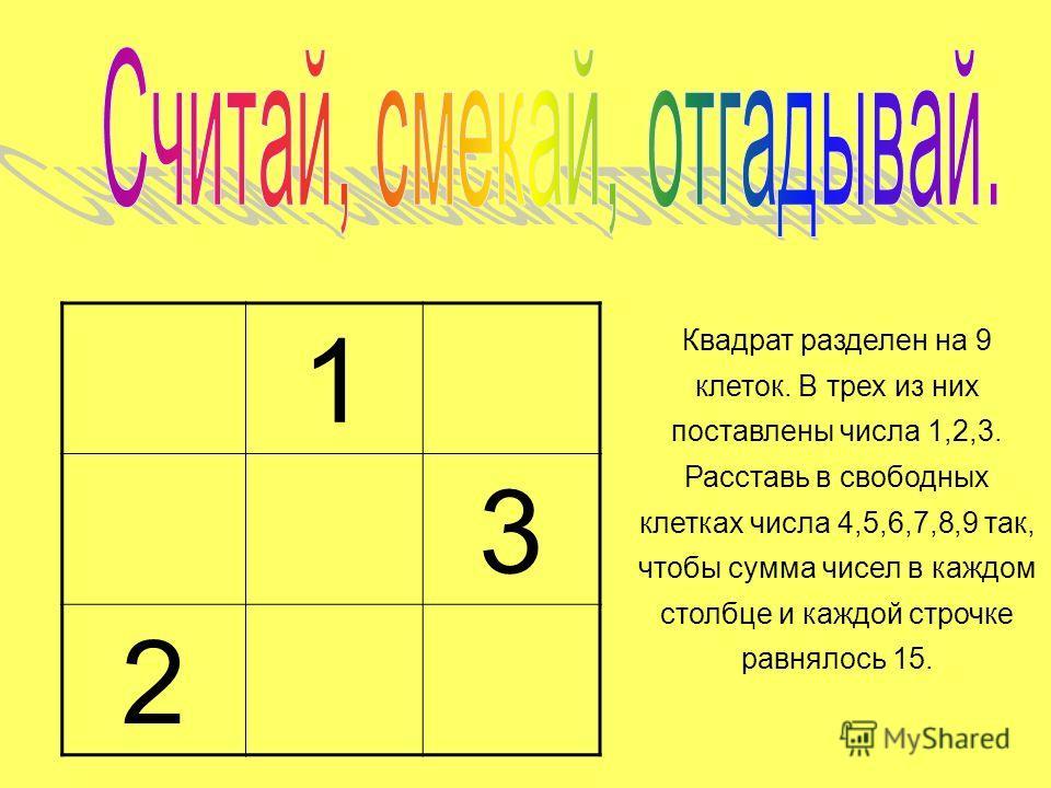 1 3 2 Квадрат разделен на 9 клеток. В трех из них поставлены числа 1,2,3. Расставь в свободных клетках числа 4,5,6,7,8,9 так, чтобы сумма чисел в каждом столбце и каждой строчке равнялось 15.