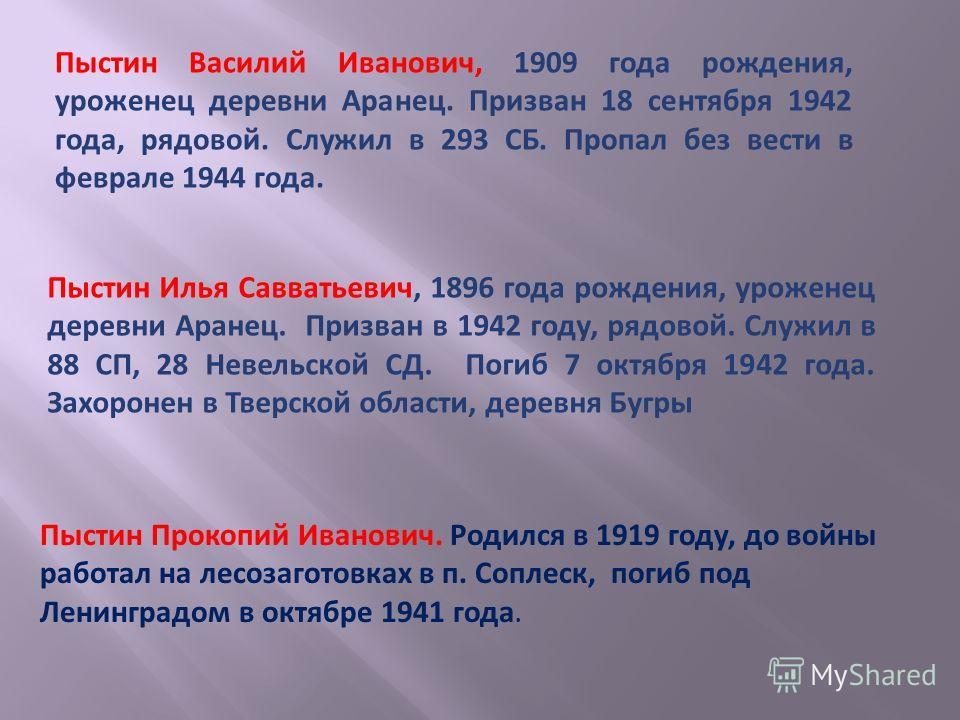 Пыстин Прокопий Иванович. Родился в 1919 году, до войны работал на лесозаготовках в п. Соплеск, погиб под Ленинградом в октябре 1941 года. Пыстин Илья Савватьевич, 1896 года рождения, уроженец деревни Аранец. Призван в 1942 году, рядовой. Служил в 88