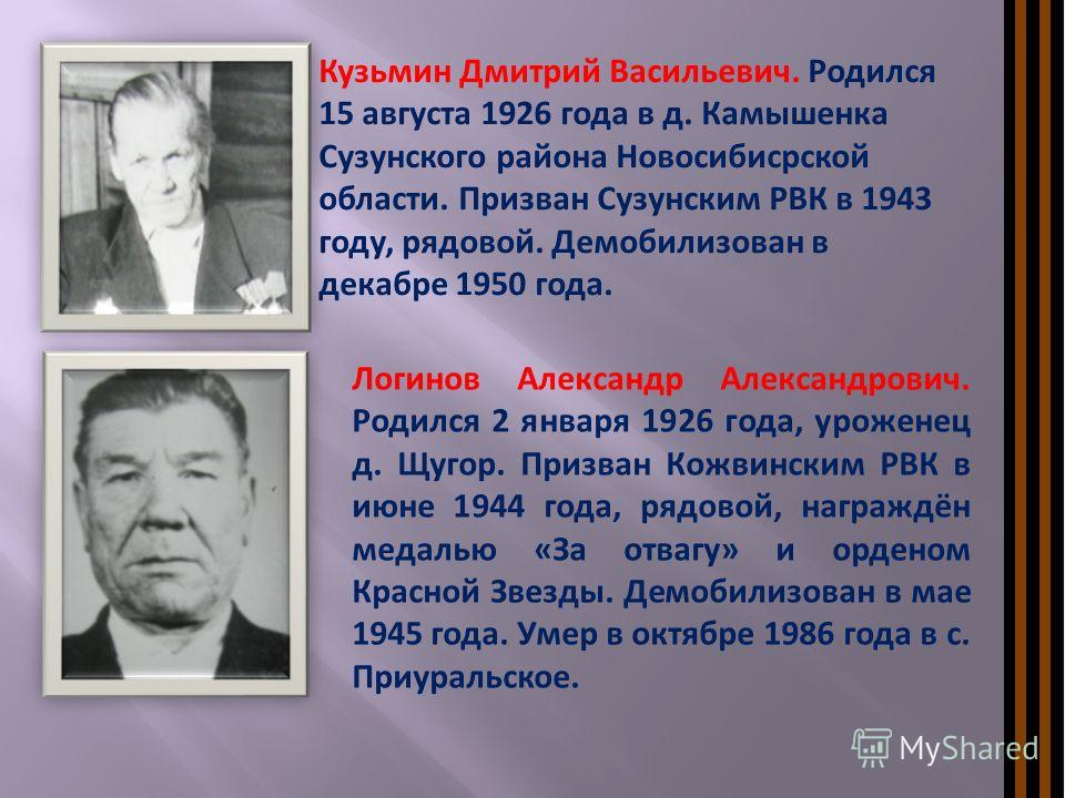 Кузьмин Дмитрий Васильевич. Родился 15 августа 1926 года в д. Камышенка Сузунского района Новосибисрской области. Призван Сузунским РВК в 1943 году, рядовой. Демобилизован в декабре 1950 года. Логинов Александр Александрович. Родился 2 января 1926 го