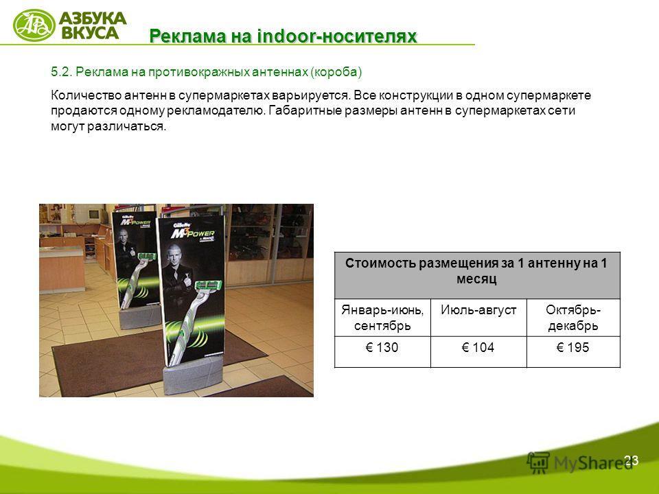 23 Реклама на indoor-носителях 5.2. Реклама на противокражных антеннах (короба) Количество антенн в супермаркетах варьируется. Все конструкции в одном супермаркете продаются одному рекламодателю. Габаритные размеры антенн в супермаркетах сети могут р