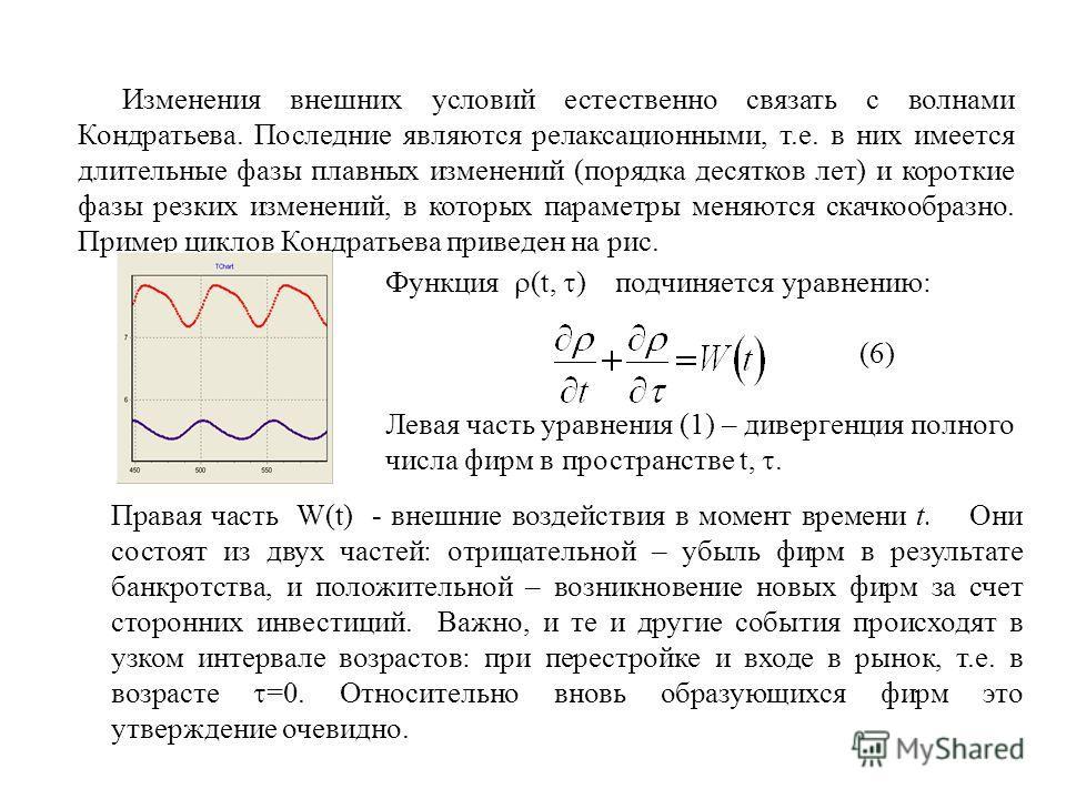 Изменения внешних условий естественно связать с волнами Кондратьева. Последние являются релаксационными, т.е. в них имеется длительные фазы плавных изменений (порядка десятков лет) и короткие фазы резких изменений, в которых параметры меняются скачко