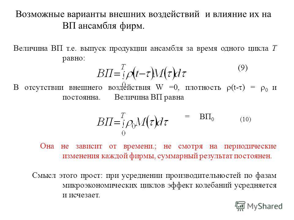 Возможные варианты внешних воздействий и влияние их на ВП ансамбля фирм. Величина ВП т.е. выпуск продукции ансамбля за время одного цикла Т равно: (9) В отсутствии внешнего воздействия W =0, плотность (t- ) = 0 и постоянна. Величина ВП равна = ВП 0 (