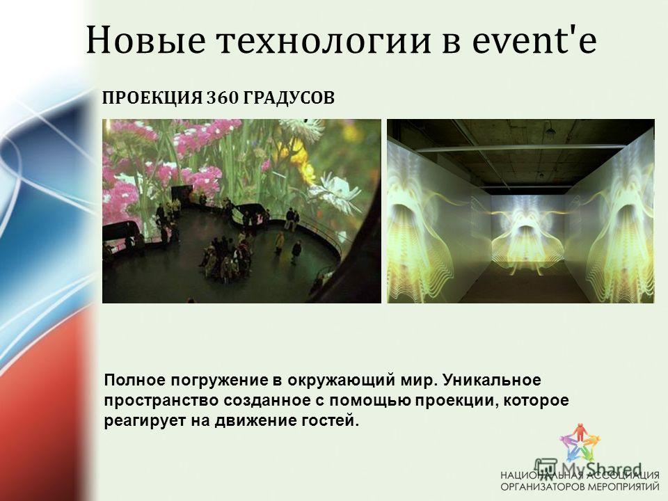 ПРОЕКЦИЯ 360 ГРАДУСОВ Новые технологии в event'e Полное погружение в окружающий мир. Уникальное пространство созданное с помощью проекции, которое реагирует на движение гостей.