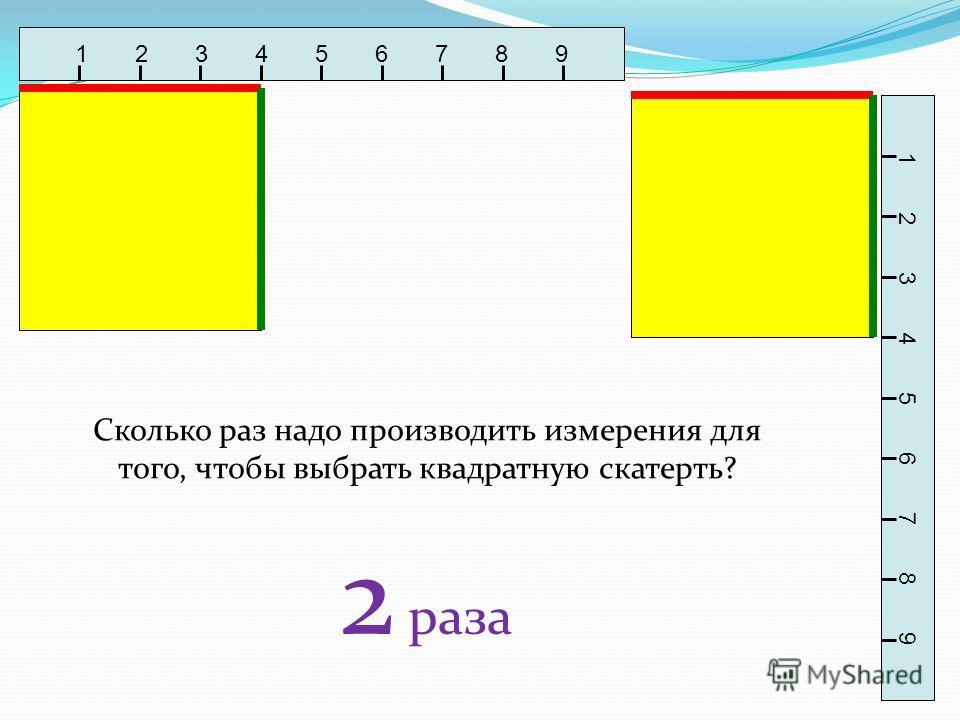 1 2 3 4 5 6 7 8 9 Сколько раз надо производить измерения для того, чтобы выбрать квадратную скатерть? 2 раза