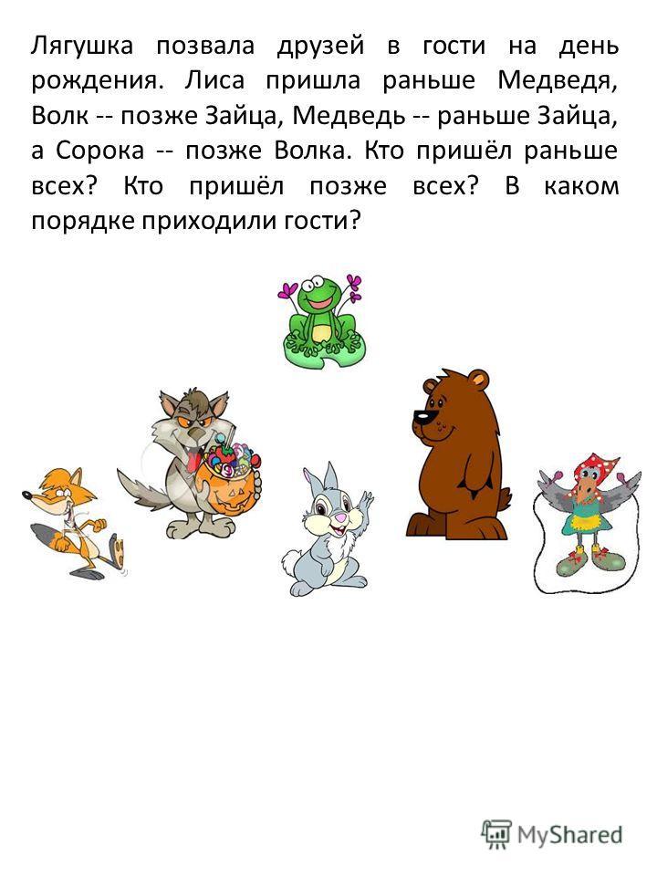Лягушка позвала друзей в гости на день рождения. Лиса пришла раньше Медведя, Волк -- позже Зайца, Медведь -- раньше Зайца, а Сорока -- позже Волка. Кто пришёл раньше всех? Кто пришёл позже всех? В каком порядке приходили гости?