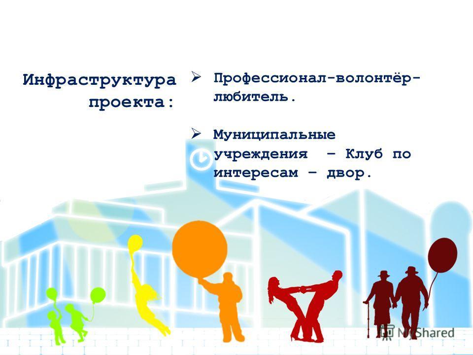 Инфраструктура проекта: Профессионал-волонтёр- любитель. Муниципальные учреждения – Клуб по интересам – двор.