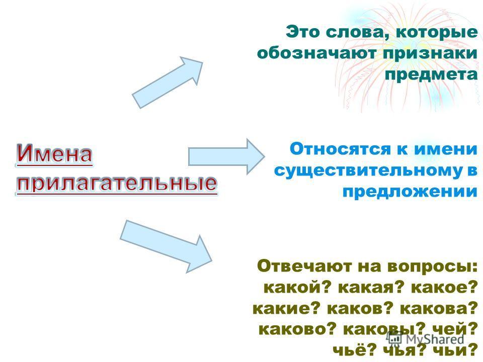Это слова, которые обозначают признаки предмета Относятся к имени существительному в предложении Отвечают на вопросы: какой? какая? какое? какие? каков? какова? каково? каковы? чей? чьё? чья? чьи?