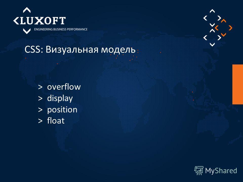 CSS: Визуальная модель > overflow > display > position > float