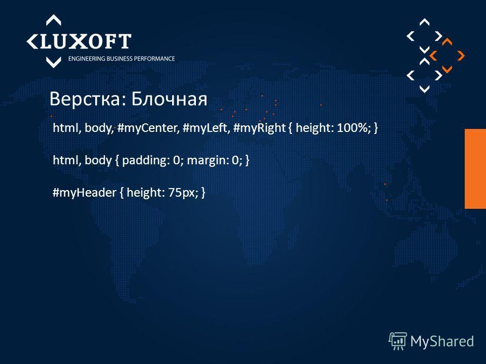 Верстка: Блочная html, body, #myCenter, #myLeft, #myRight { height: 100%; } html, body { padding: 0; margin: 0; } #myHeader { height: 75px; }