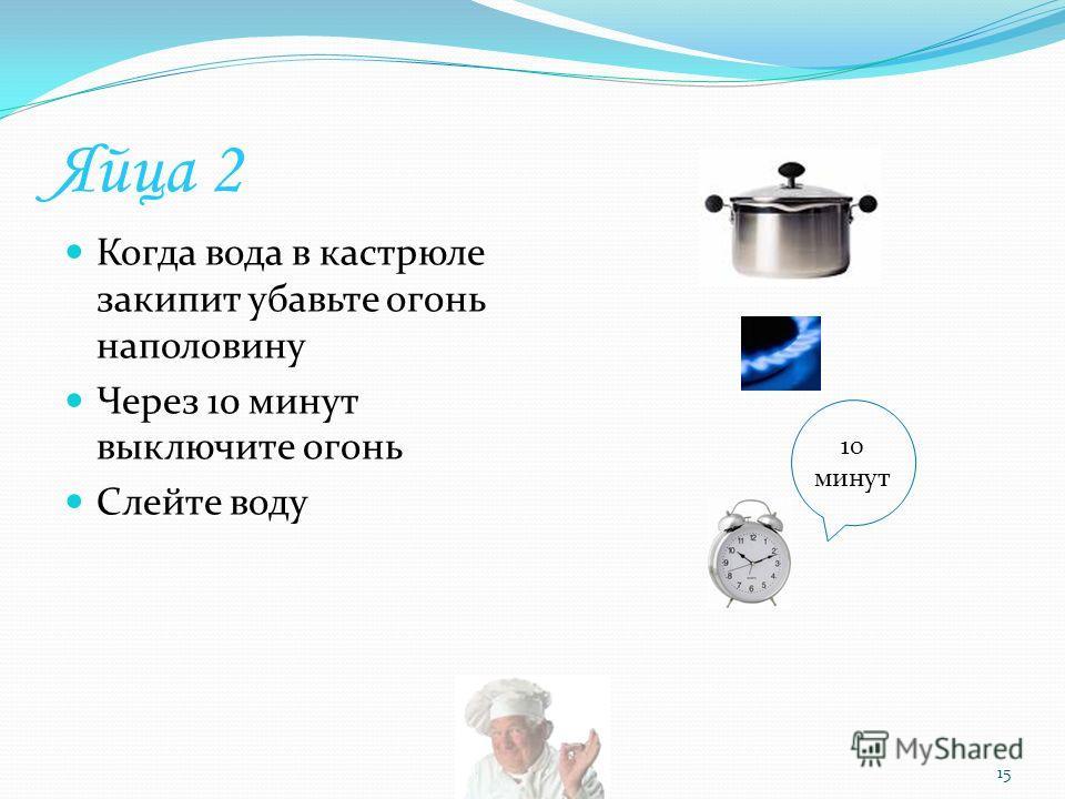 Яйца 2 Когда вода в кастрюле закипит убавьте огонь наполовину Через 10 минут выключите огонь Слейте воду 15 10 минут