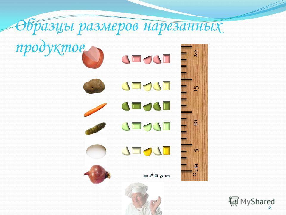 Образцы размеров нарезанных продуктов 18 10 20 5 15 см 0