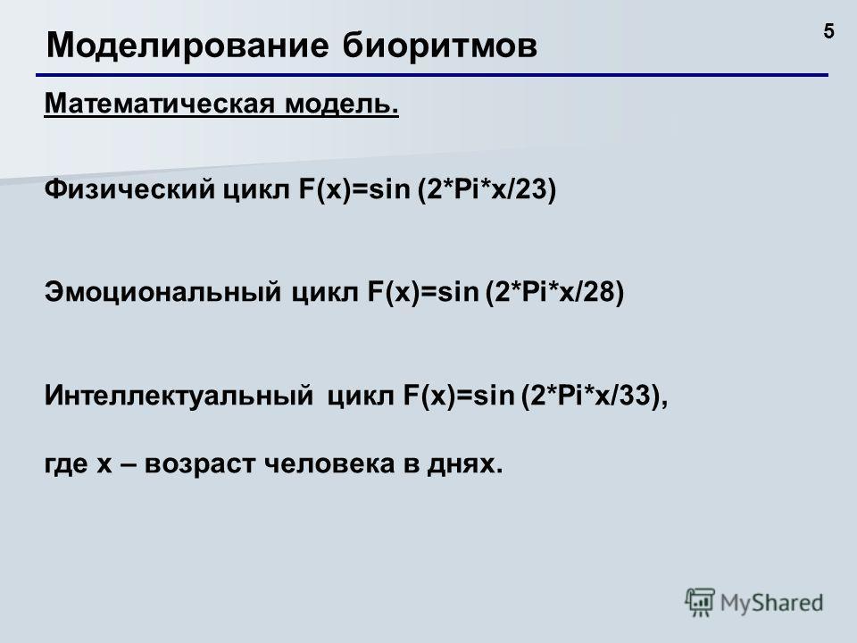 5 Моделирование биоритмов Математическая модель. Физический цикл F(x)=sin (2*Pi*x/23) Эмоциональный цикл F(x)=sin (2*Pi*x/28) Интеллектуальный цикл F(x)=sin (2*Pi*x/33), где х – возраст человека в днях.