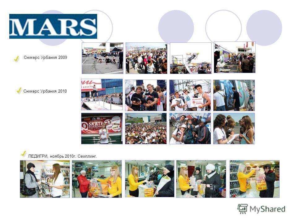Сникерс Урбания 2009 Сникерс Урбания 2010 ПЕДИГРИ, ноябрь 2010г. Семплинг.
