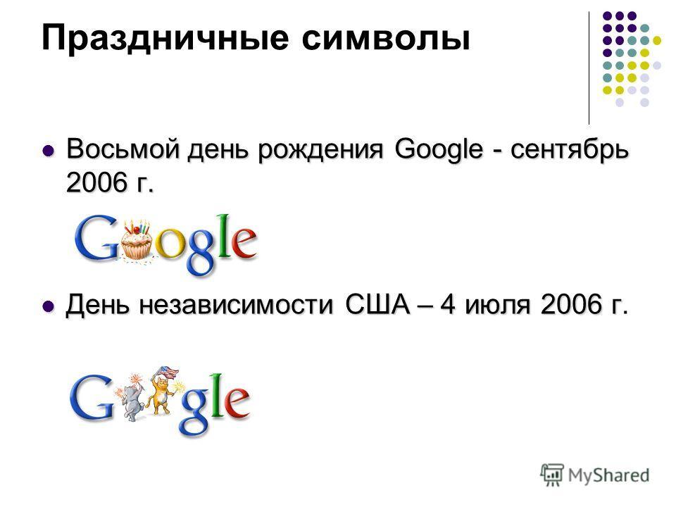 Праздничные символы Восьмой день рождения Google - сентябрь 2006 г. День независимости США – 4 июля 2006 г.