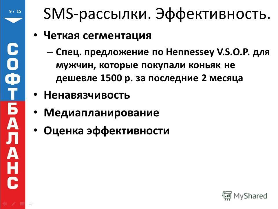 / 159 Четкая сегментация – Спец. предложение по Hennessey V.S.O.P. для мужчин, которые покупали коньяк не дешевле 1500 р. за последние 2 месяца Ненавязчивость Медиапланирование Оценка эффективности SMS-рассылки. Эффективность.