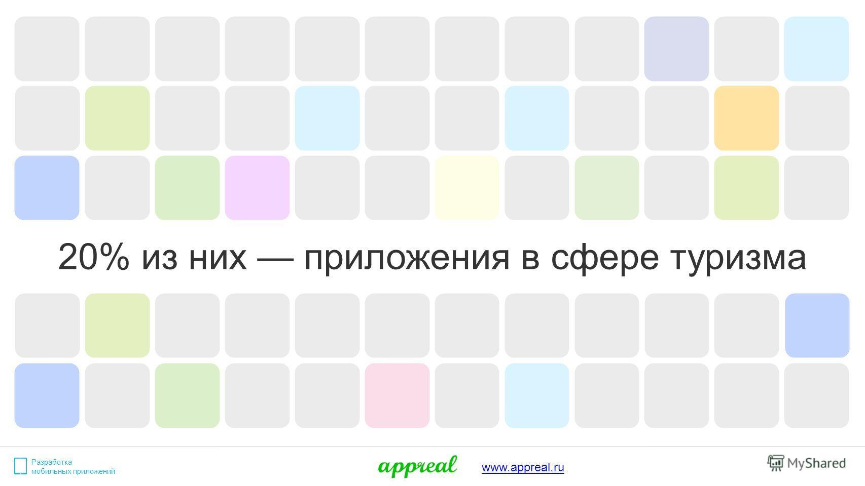 20% из них приложения в сфере туризма Разработка мобильных приложений www.appreal.ru