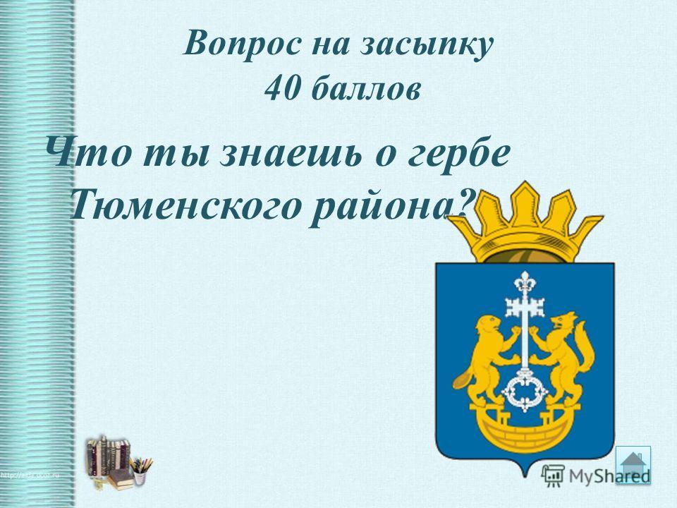 Вопрос на засыпку 40 баллов Что ты знаешь о гербе Тюменского района?