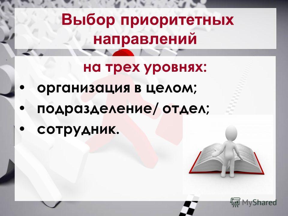 Выбор приоритетных направлений на трех уровнях: организация в целом; подразделение/ отдел; сотрудник.
