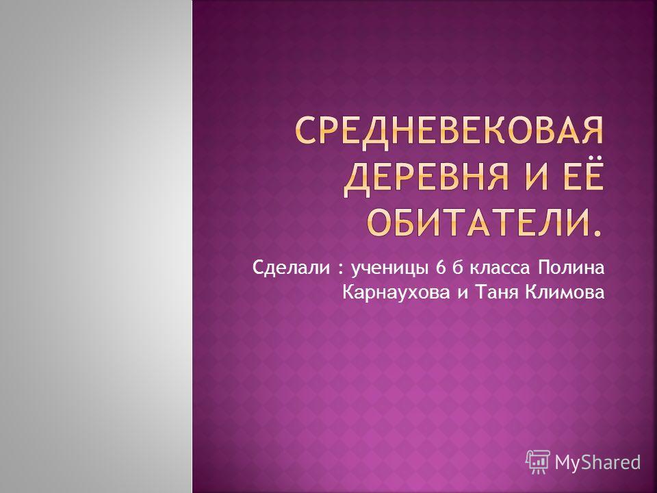 Сделали : ученицы 6 б класса Полина Карнаухова и Таня Климова